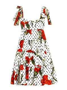 Carnation and polka-dot print dress