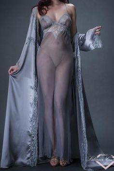 Contemporaine Silk Chiffon Long Nightdress by Liliana Casanova Luxury Nightwear, Lingerie Sleepwear, Belle Lingerie, Long Nightdress, Bleu Pastel, Satin, Beautiful Lingerie, Hollywood Glamour, Silk Chiffon