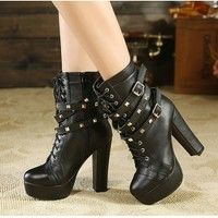 Rivet Belt Buckle Martin Thick High Heel Boots For Lady