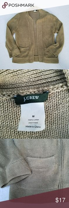 J. Crew linen cardigan tan size M Gently used, no flaws only signs of gentle wash and wear; cardigan has the slightly faded look typical of linen; 3/4  length sleeves, 2 pockets in front,  no closures; 100% linen, length ca 22 inches, chest armpit to armpit ca 18 inches; color is most accurately represented in the cover shot and the shot of the back. J. Crew Sweaters Cardigans