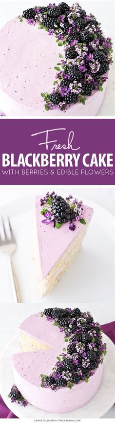 Blackberry Lime Cake - tender cake infused with lime zest, frosted with blackberry buttercream, topped with fresh blackberries and edible flowers   by Carrie Sellman for TheCakeBlog.com