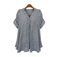 2017 Summer Women Plaid Blouse Shirts Mujer Tops Tee Blusas Feminina Short Sleeve Sexy Ladies Blouse Clothing Plus Size Loose Fitting Tops, Loose Tops, Cut Loose, Blue Short Sleeve Tops, Short Sleeve Blouse, Long Sleeve, Short Sleeves, Plus Size Shirts, Plus Size Tops