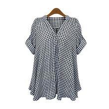Mulheres blusa 2015 verão europeu casual solto plus size xadrez de manga curta blusa XL-5XL 7322(China (Mainland))