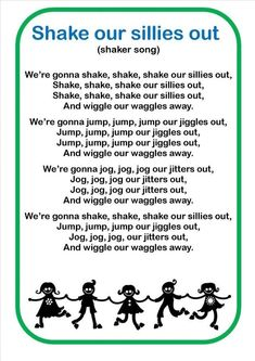 shake my sillies out song words Kindergarten Songs, Preschool Music, Preschool Learning Activities, Preschool Lessons, Preschool Classroom, Montessori Elementary, Transition Songs For Preschool, Movement Songs For Preschool, Preschool Action Songs