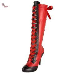 Pleaser  Tem126/Rb/Pu, Bottes Classiques femme - Noir - Black (Red/Black), 38 - Chaussures pleaser (*Partner-Link)