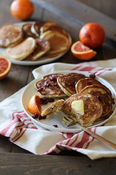 Gluten-Free Cranberry Orange Pancakes made with almond flour and gf ap flour | TheRoastedRoot.net #healthy #breakfast #recipe