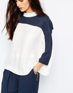 Image 3 ofJust Female Gibbs Blouse in White and Blue