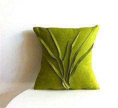 grass textured pillow -  moss green linen pillow