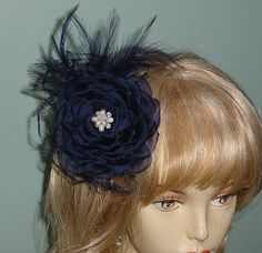 Navy Blue Hand Pressed Silk Flower Feather Fascinator by AnnLeslie, $125.00