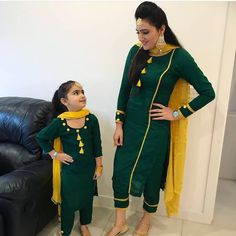 Mother and daughter matching suit design ideas - Indian Fashion Ideas Kids Dress Wear, Dresses Kids Girl, Mom Daughter Matching Dresses, Punjabi Suits Party Wear, Kurti Designs Party Wear, Salwar Designs, Indian Designer Suits, Designer Wear, Designer Dresses