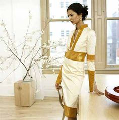 American sari dress | FOREIGN POLICY. An elegantly-cut sari-inspired dress with gold brocade ...