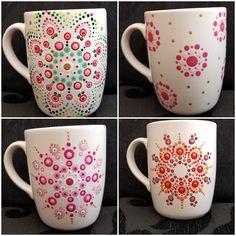 Mug Dot Art Painting, Mandala Painting, Pottery Painting, Ceramic Painting, Mandala Dots, Mandala Design, Ceramic Mugs, Ceramic Art, Painted Coffee Mugs