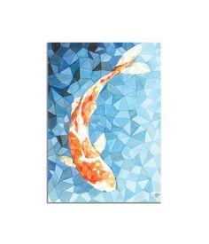Koi Fish Geometric illustration print - A4, 8 x 10, 5 x 7 - Orange Blue triangles painting - koi carp fish room decor - koi fish watercolor