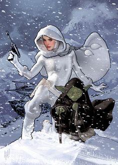 Snowbunny Padme and Yoda by ~AdamHughes on deviantART