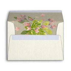 RUSTIC PINK KRAFT WILD FLOWERS & FERNS MONOGRAM ENVELOPE - bridal shower gifts ideas wedding bride