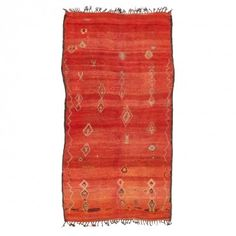 """Vintage Moroccan Wool Rug - 6'1""""x11'10""""Handwoven from wool in Morocco, this vintage rug features a scattering of graphic tribal motifs on a fiery field."""