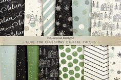Home for Christmas Digital Papers by 7th Avenue Designs on @creativemarket