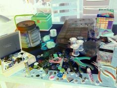 my jewelry making process captured on the negative setting on my phone camera lol. i like all the colors