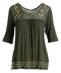 f675f9d083 Look what I found on  zulily! Olive Geometric Embroidered V-Neck Top - Plus  Too  zulilyfinds