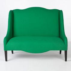 green linen loveseat