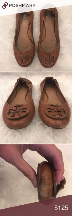 Tory Burch Ballet Flat - Tan Some wear on the front of the shoes, but other than that these shoes look great on! Only wore them a few times despite the damage spots on the toe areas Tory Burch Shoes Flats & Loafers