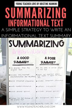 Teach your elementary students about Summarizing Informational Text: A Simple Strategy to Write an Summary. Summarizing nonfiction text teaches them to determine the most important ideas in a text, ignore unimportant information & connect the main idea & key details of a text in a logical way. It also helps improve memory & comprehension of a text. Students will learn the main idea, important or key details, follow the text structure & putting it all together. #UpperElementary