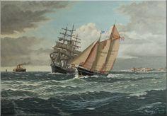 Werk van Frits Hoogstrate.Loodsschoener nr.8 beloodst de Europa voor Vlissingen,anno 1900