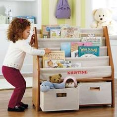 """Orgjunkie.com recommends our Sling Bookshelf as a Toy Storage Solution that's """"fabulous, fun and functional!"""""""