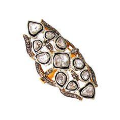 Rose Cut Diamond 14K Gold Wedding Armor Ring 925 Sterling Silver Vintage Jewelry #Handmade