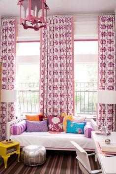 pattern play.  draperies + daybed   amanda nisbet