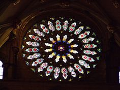 The Rose Window in the south transept. The York Minister. Its stonework dates from 1250, but the glass was added in the 15th century to commemorate the end of the War of the Roses (and the beginning of the Tudor Dynasty) through the union of the Houses of Lancaster and York. history-tudor-england