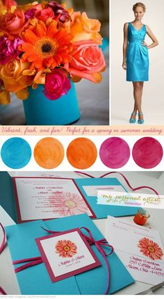 summer wedding color ideas, blue and the orange...maybe not that bright of blue on a ribbon wrapped around vase