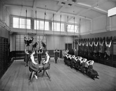 Photograph of female pupils in the Gymnasium of unidentified school run by the Edinburgh Merchant Company, 1900-1920