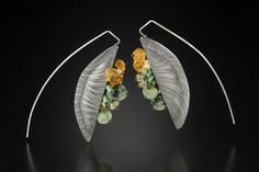 Sarah C Chapman - Bateaux Earrings, etched sterling silver with turquiose & citrine