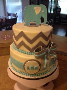 Chevron & Elephant baby shower cake