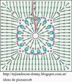 Crochet Diagram, Crochet Chart, Crochet Motif, Crochet Designs, Crochet Doilies, Crochet Flowers, Crochet Stitches, Crochet Patterns, Crochet Blocks