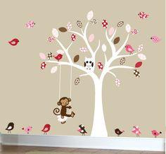 Los niños pared calcomanía de árbol blanco de etiqueta con