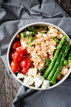 Spring Orzo Salad with Roasted Salmon