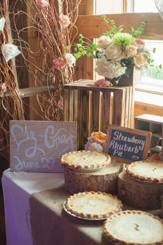 Love this!!!! Pies! Think we might have a small cake and then a punch of pies, would fit perfectly with a rustic/vintage theme!