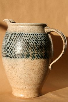 Saltfired ropeinlayed tall Pitcher by GendoCeramics on Etsy, $160.00