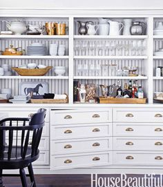 Get creative with your kitchen cabinets. Inspired by a vintage printer's desk, Monica Bhargava had the cabinets in her California kitchen made to look like drawers. Read more: Unique Kitchen Storage Ideas - Kitchen Organization Tips - House Beautiful Clever Kitchen Storage, Kitchen Cabinet Storage, Kitchen Shelves, Kitchen Decor, Kitchen Cabinets, Kitchen Organization, Large Cabinets, Kitchen Sideboard, Cabinet Space