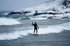 World's coldest surfing destination;  Marquette, MI