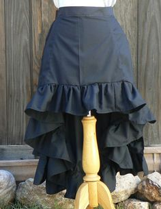 This is a fun addition to your Steampunk or Cosplay wardrobe. Fun high low design. This bustle skirt stands out among the rest of bustle skirts.