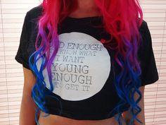 ! * YULIE KENDRA´S LIFE * !: New In: Dirty Shirty Crop Top & T-Shirt pinkhair mermaidhair bluehair pink blue mermaid statement print shirt summer sun