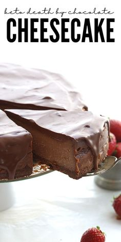 I don't say this lightly, but this is the BEST EVER keto chocolate cheesecake. Rich, dreamy, and oh so chocolatey. A chocolate crust with creamy chocolate cheesecake and a sugar-free chocolate ganache topping. Low carb never tasted so good! Ketogenic Desserts, Low Carb Desserts, Low Carb Recipes, Dessert Recipes, Death By Chocolate, Chocolate Lovers, Chocolate Ganache, Low Carb Chocolate Cheesecake Recipe, Low Carb Cheesecake