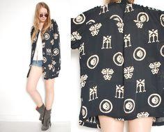 vintage 90s jacket black rayon cream tribal ethnic print gypsy boho over sized jacket 1990s 90s clothing