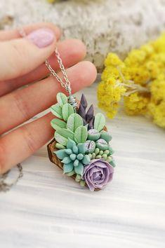 Unique tiny plants necklace pendant. Botanical necklace with succulents and flowers.