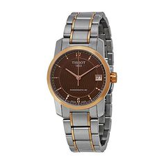 Tissot T-Classic Automatic Brown Dial Two-tone Ladies Watch T0872075529700 -- Visit the image link more details.