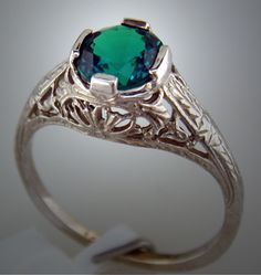 Antique Style Kashmir Created Emerald Ring