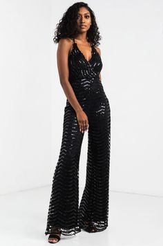 b5b165c3c668 AKIRA Halter Neck Tie Plunging Crochet Sequin Jumpsuit in Black